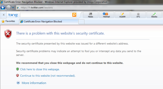 Twitter : there is a problem with the website security certificate