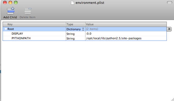 Edit the PYTHONPATH on ~/.MacOSX/environment.plist