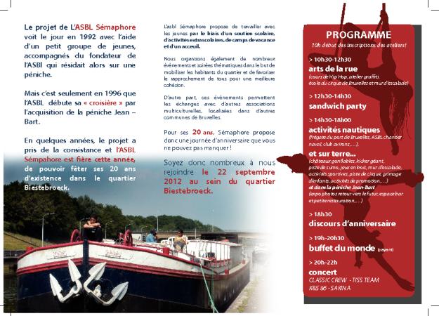 Flyer: ASBL Sémaphore fête ses 20 ans (2/2)