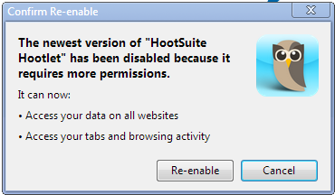 Hootsuite Hootlet needs more permissions