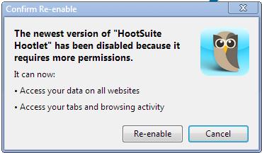 Hootsuite Hootlet needs more permissions