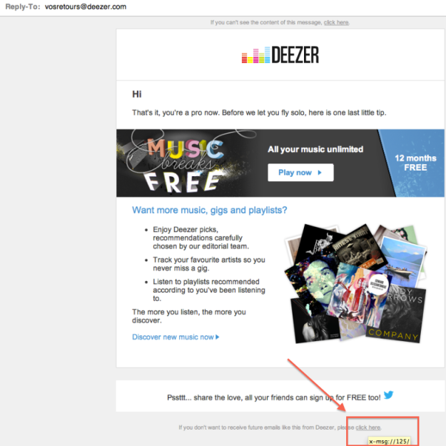 Users cannot unsubscribe from Deezer newsletter