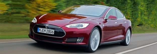 Tesla Model S, red car