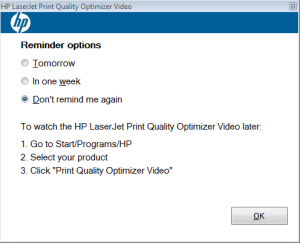 HP LaserJet Print quality optimizer video bug
