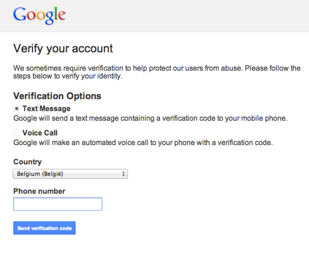 Google: verify your account