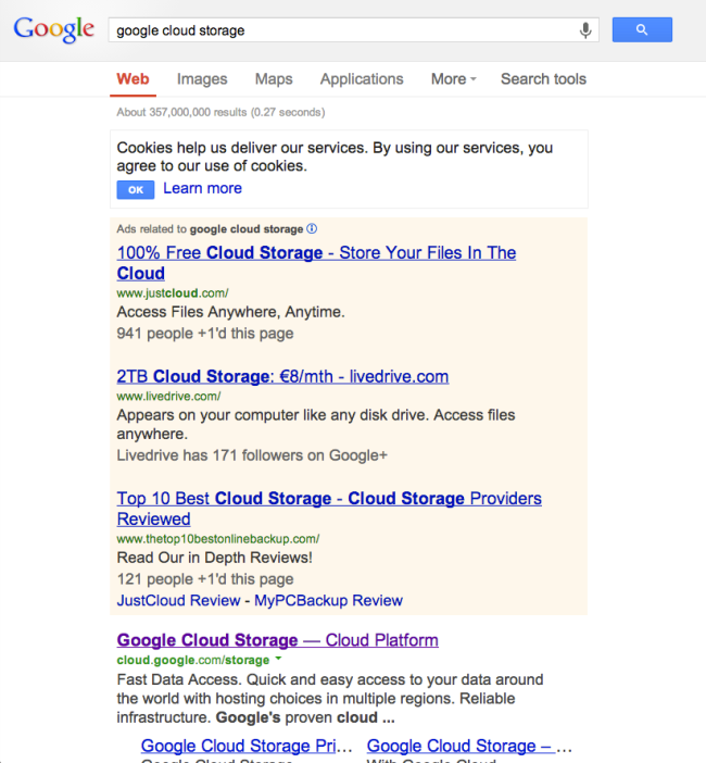 Google Cloud Storage - search screen