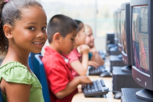 Kindergarten children learning how to use computers. credits http://www.jsums.edu/education/