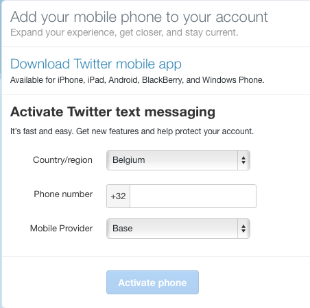 Twitter, add you mobile phone to your account